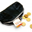 Purse, gold coins and money on white background. — Stock Photo