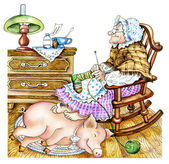 Granny with a pig — Stock Photo