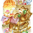 Bear speaks on the phone - Zdjęcie stockowe