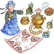 Traditional Russian tea party set - Foto Stock