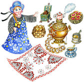 Traditional Russian tea party set — Stock Photo