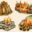 Four types of campfires — Stock Photo
