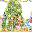Stock Photo: Children and Santa around the Christmas tree