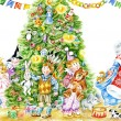 Children and Santa around the Christmas tree - Foto Stock