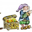Stock Photo: Gnomes and trunk with treasures