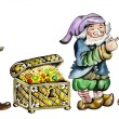 Gnomes and trunk with treasures - Foto Stock