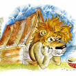 Lion in doghouse - Stockfoto