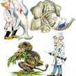 Cartoon veterinarians with different animals — Stock Photo #9722784