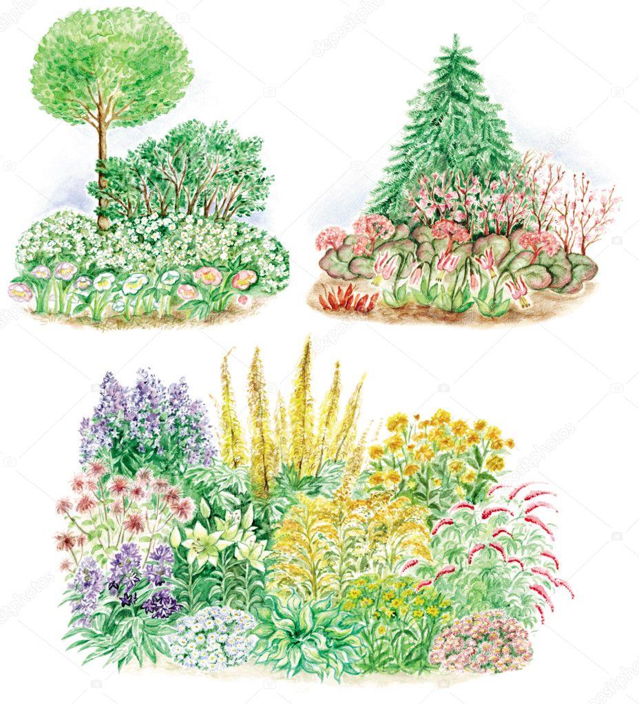 Conception de jardin de massifs de fleurs — Photographie ...