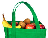 Reusable Green Bag with Groceries — 图库照片