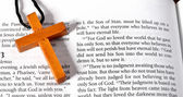 Cross on Bible verse John 3:16 — Stock Photo