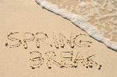 春假写在沙滩上海滩上 — 图库照片