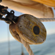 Old Wooden Block (Pulley) on Schooner — Stock Photo