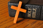 Cross and Holy Bible — Stock Photo