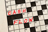 The Words Cash Flow on Crossword Puzzle — Stock Photo