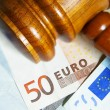 Gavel and Euro notes — Stock Photo