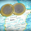 Spain map and Euro coins — Stock Photo
