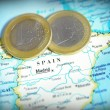 Stock Photo: Spain map and Euro coins
