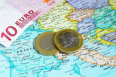 Europe and Euro coins — Stock Photo