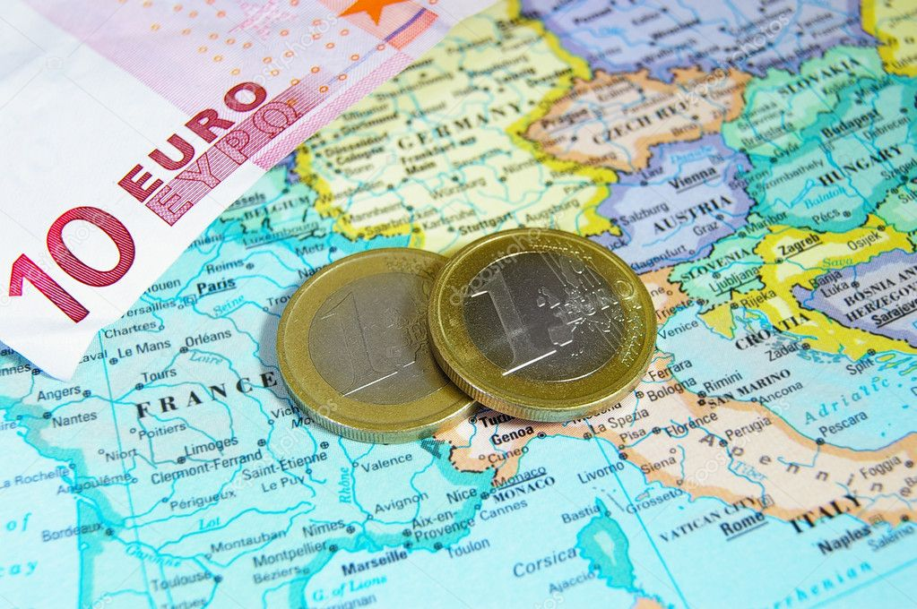 Closeup of map of Europe and Euro coins — Stock Photo #10484746