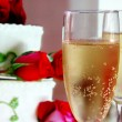 Стоковое фото: Champagne and wine glasses on white background