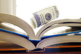 Rolled up cash on open books — Stock Photo