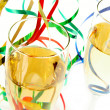 Stock Photo: Champagne glasses and ribbons on white background