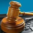 Judges court gavel on a laptop pc keyboard — Stock Photo #9324116