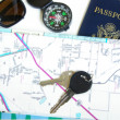 Stock Photo: Travel concept - sunglasses, map, passport, compass etc