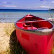 Stock Photo: Red canoe