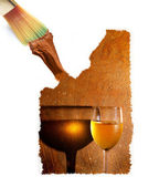 Paint brush creating white wine and textured background — Stock Photo