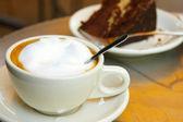 Coffee and chocolate cake — Stock Photo