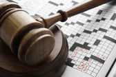 Closeup if a crossword puzzle with legal terms — Stock Photo