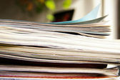 Closeup of a stack of magazines — Stock Photo