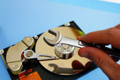 PC technician repairing a computer hard-drive — 图库照片