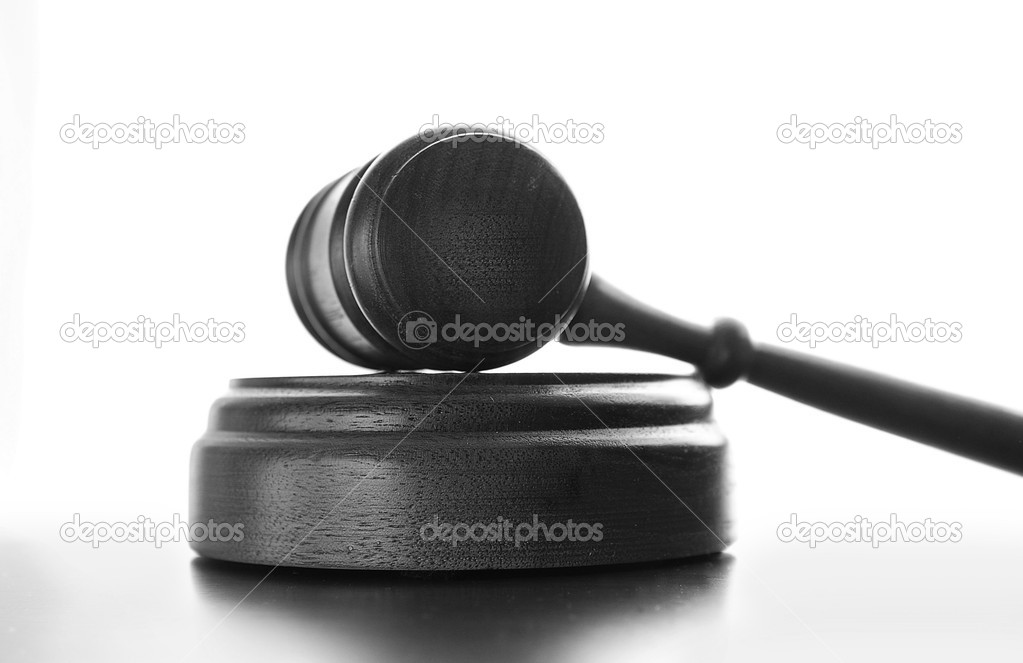 Judges wooden gavel isolated on white background — Stock Photo #9322825