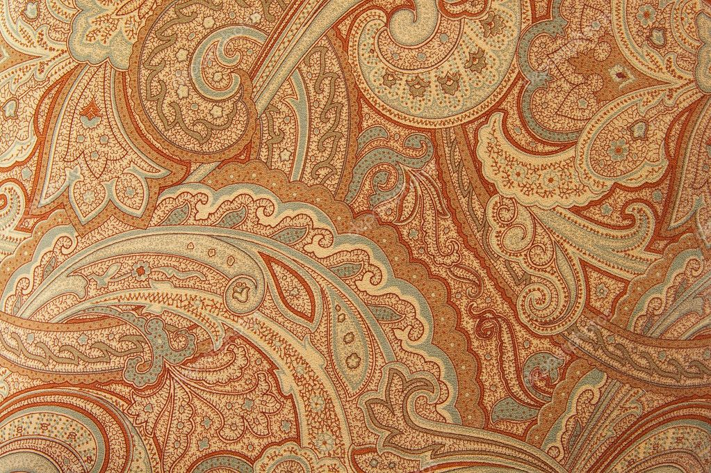 A brown paisley 70s style design pattern  Stock Photo #9327472