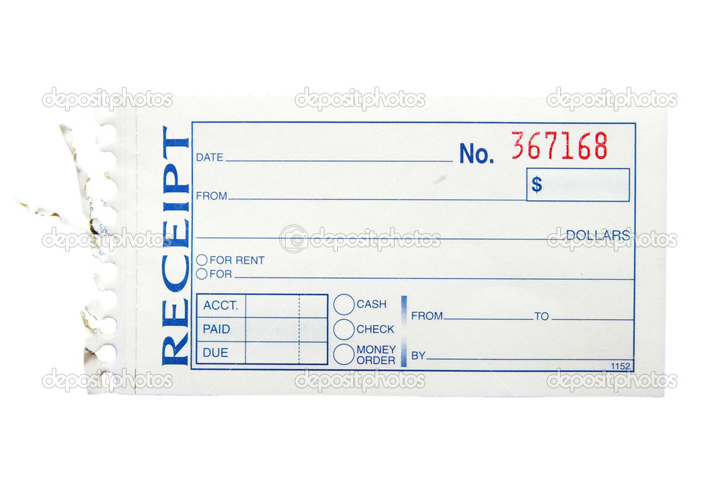 Blank generic paper receipt, on white — Stock Photo #9327987