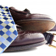 Business attire: Tie, shoes and belt — Stock Photo