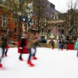 Ice-skating on an out-door rink in Amsterdam, Holland — Stockfoto