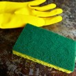 Sponge and cleaning glove — Stock Photo