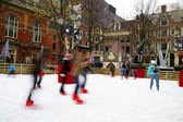 Ice-skating on an out-door rink in Amsterdam, Holland — Stock Photo