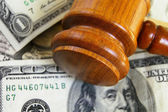 Gavel on cash — Stock Photo
