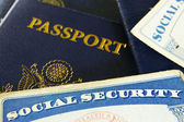Social Security cards and passports — Stock Photo