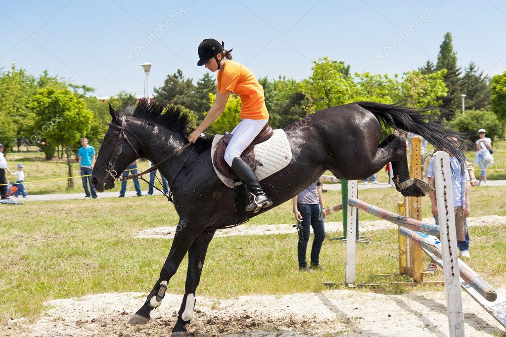 Black horses jumping - photo#12