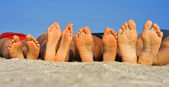 Barefoot on sand — Stock Photo