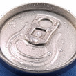 Ring pull and tin can lid wet with condensation — 图库照片
