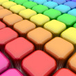 Color Rounded Cubes - Stock Photo