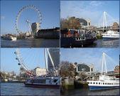 London Eye & ships — Stock Photo