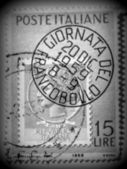 Italian lady-face stamp, circa 1959 — Stock Photo